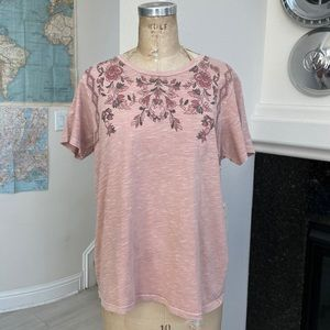 NWT Lucky Brand t-shirt floral graphic pink XL